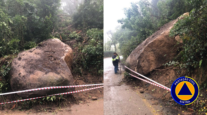 Queda de Rocha encerrou circulação rodoviária na Estrada da Pena - Sintra Notícias